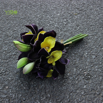 Hot Sale Real Like PU Purple Real Touch Artificial Cymbidium Orchid Flowers