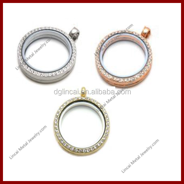 Zinc alloy 30mm crystal magnetic round floating locket pendant