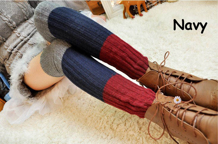 1 шт. в розницу мода нескольких цвет Patchwoak полосы трикотажные для женщин загрузочный носки гетры Kint колен-высокие грелки ноги