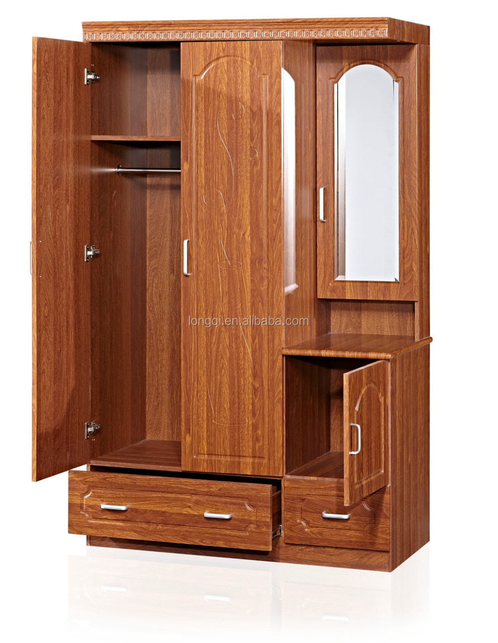 New Arrival Bedroom Mdf Wardrobe Design Wood Clothes