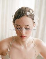 2016 Wedding White Flower Birdcage Bridal Face Veils Bridal Blusher Veil Russian Netting Chiffon Floral Hair Accessory Wedding