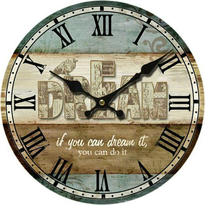 American Country Style Home Decor Wooden Wall Clock Mdf