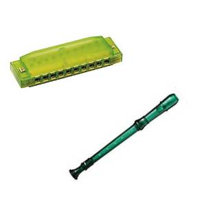 My First Recorder / Harmonica Pack -BPA FREE Green Translucent Recorder w/Green Hohner Harmonica
