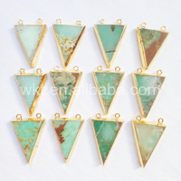 WT-P645 Wholesale Natural triangle chrysoprase stone pendant, fashion precious stone pendant