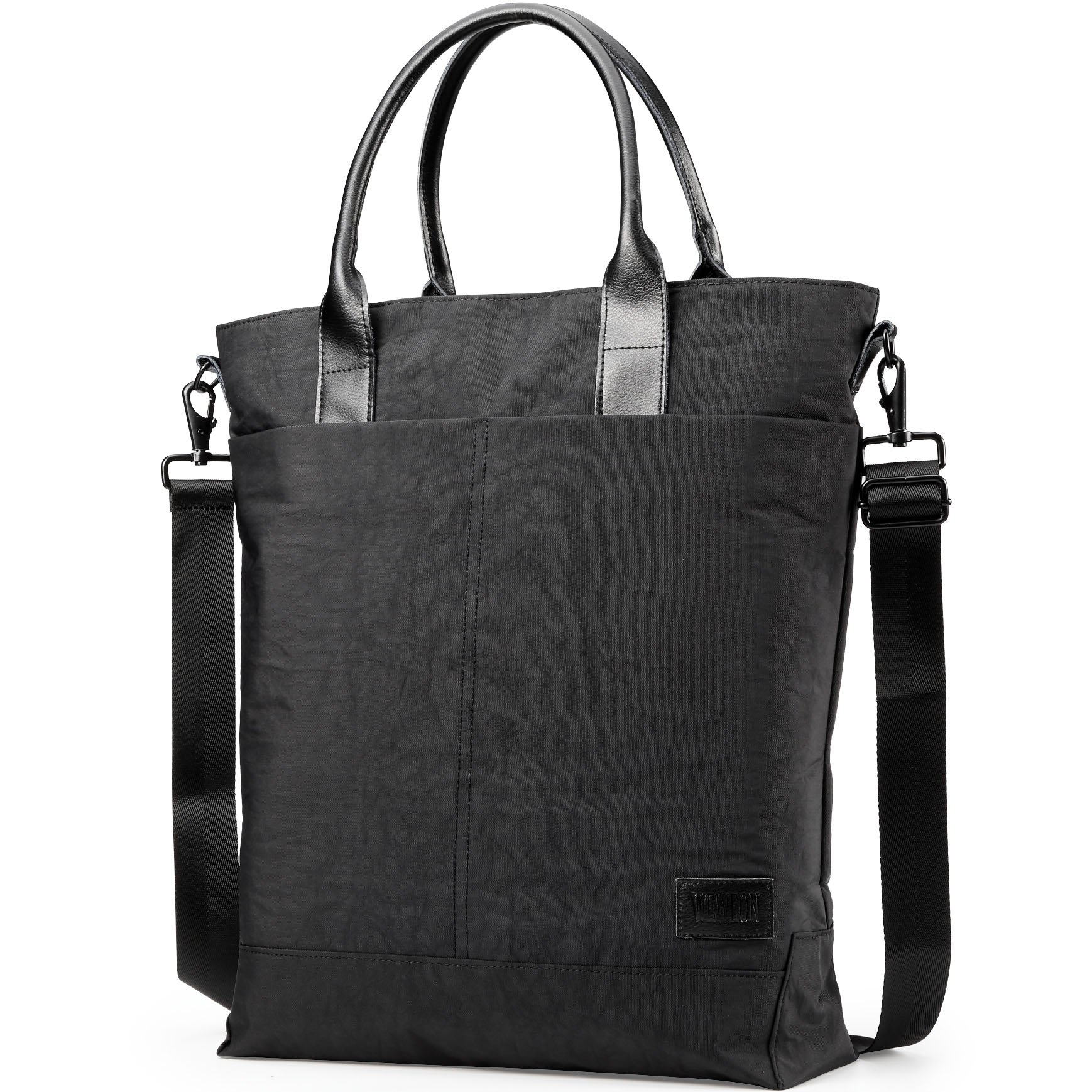 Laptop Tote Handbag with Leather Handle, Business Tote Work Bag, Travel Tote Black