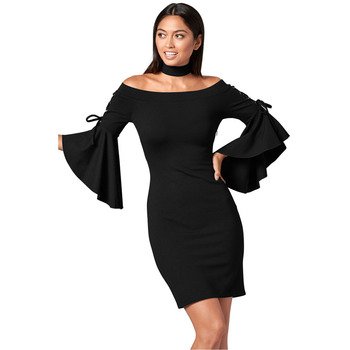 77609543e6 New Bodycon Sexy Club Party Dresses Black White Long Sleeve Soild Elegant  Casual Slim Hip Bandage. View larger image