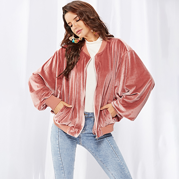 Factory Dropship Fall Winter Ladies Oversize Zipper Batwing Sleeve Pink Velvet Coat Short Women Fashion Jacket