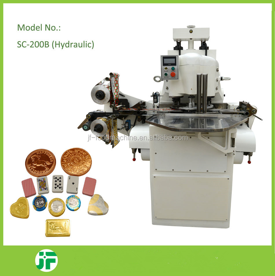 cheap price embossing penny shape Chocolate packing machine