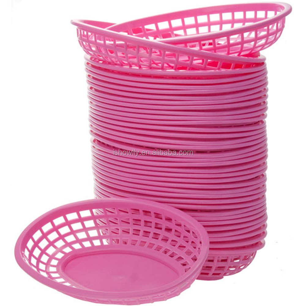 12 New High Quality Tablecraft Clic Small Pink Oval Plastic Diner Basket Barbecue Serving Baskets Vintage