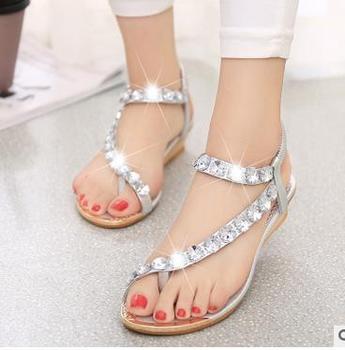 63f6cda0e8f Alibaba latest design women shoes Bohemian style flat toepost shoes large  size ladies sandal