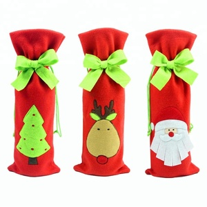 2017 Christmas Wine Bottle Bag Dinner Party Decoration Bow-Knot Red Deer Christmas Tree Santa Claus Bottle Cover Bag Christmas