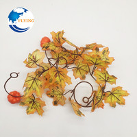 Factory Direct Sale Silk Artificial Maple Leaves vine Garland 1M for Fall Decoration