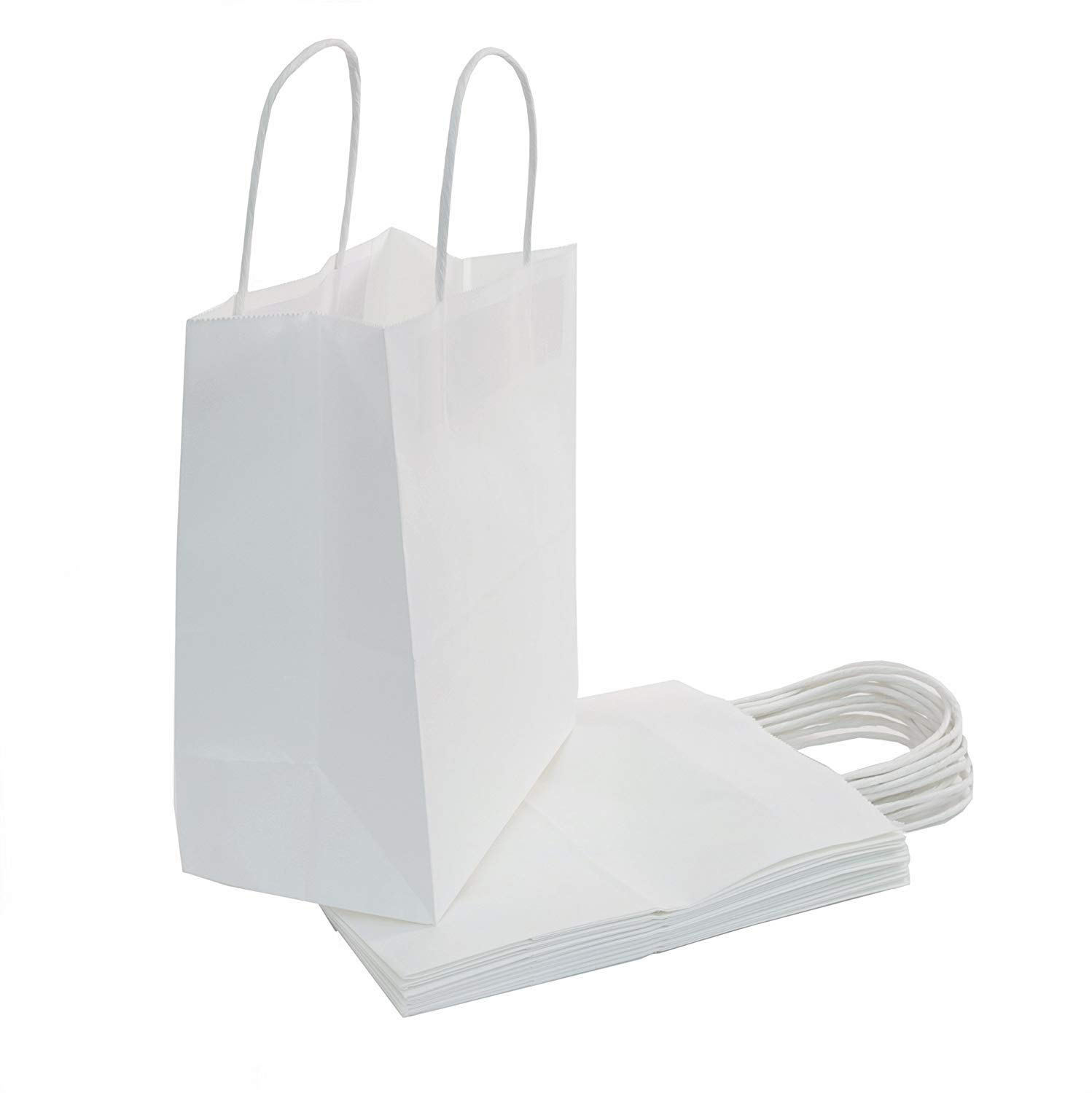 "250pcs White Kraft Shopping Paper Bag 60# Natural Kraft Paper 8 x 4 x 10 1/2"" -250 Bags- Mechandise, Party, Gift Bags"