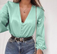 X86923B 2018 solid color Opened front woman satin blouse shirt