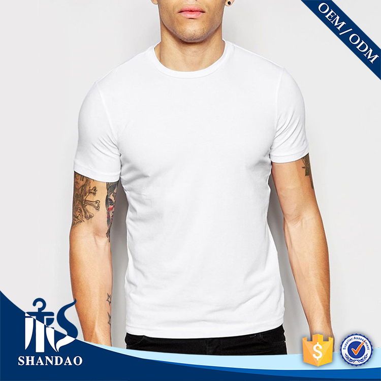 Guangzhou Clothing Factory Shandao Casual Summer Men Short Sleeve O-Neck 120g 100% Cotton Extended T Shirt Wholesale