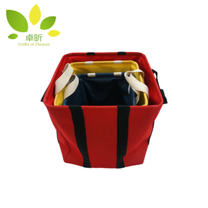 Hot Sell laundry canvas fabric basket with cotton handle for home storage
