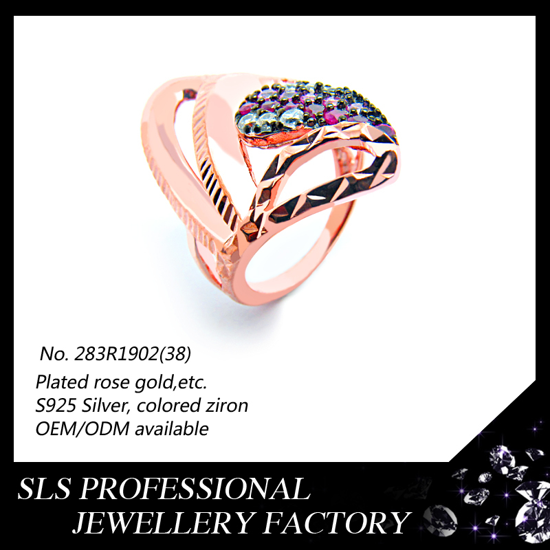 Beautiful and simple design rings 925 silver rings jewelry rose gold plate witl colorful stone rings special design for girls