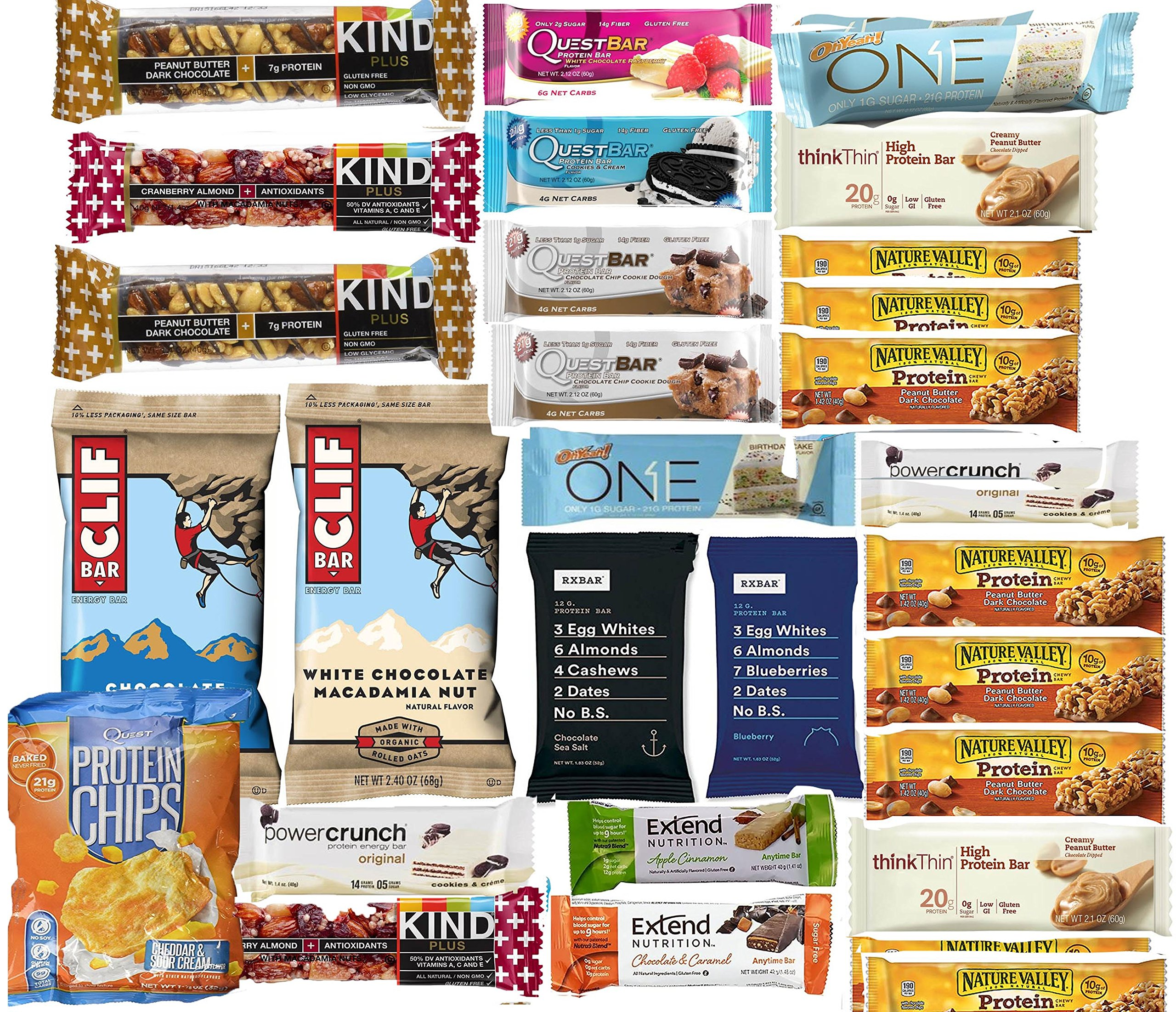 Protein Bars And Snack Sampler Pack, Includes RX bar, Quest, One Bars, Clif , Quest Chips, Think Thin, Kind Bars, Nature Valley, Power Crunch, Pack of 30 Bars, High in Protein and Healthy Snack
