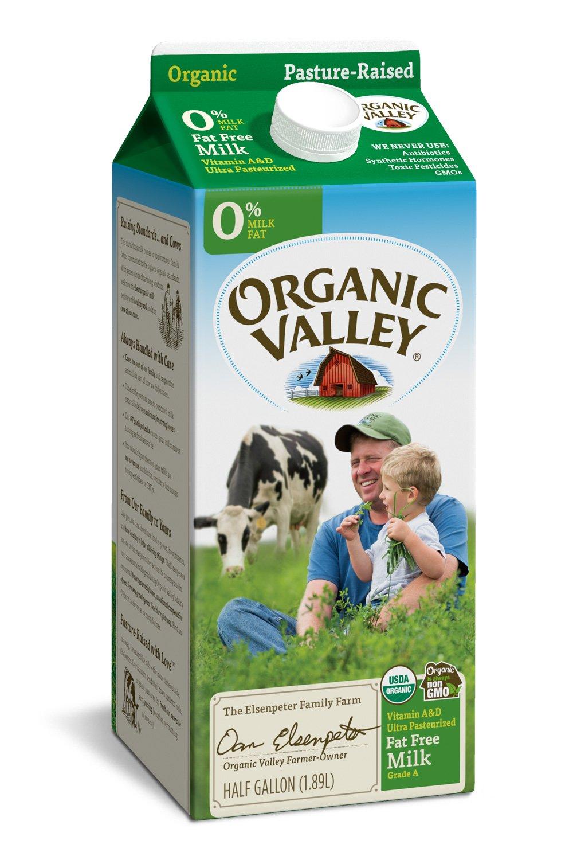Organic Valley, Organic Fat Free Milk, Ultra Pasteurized, Half Gallon, 64 Ounces