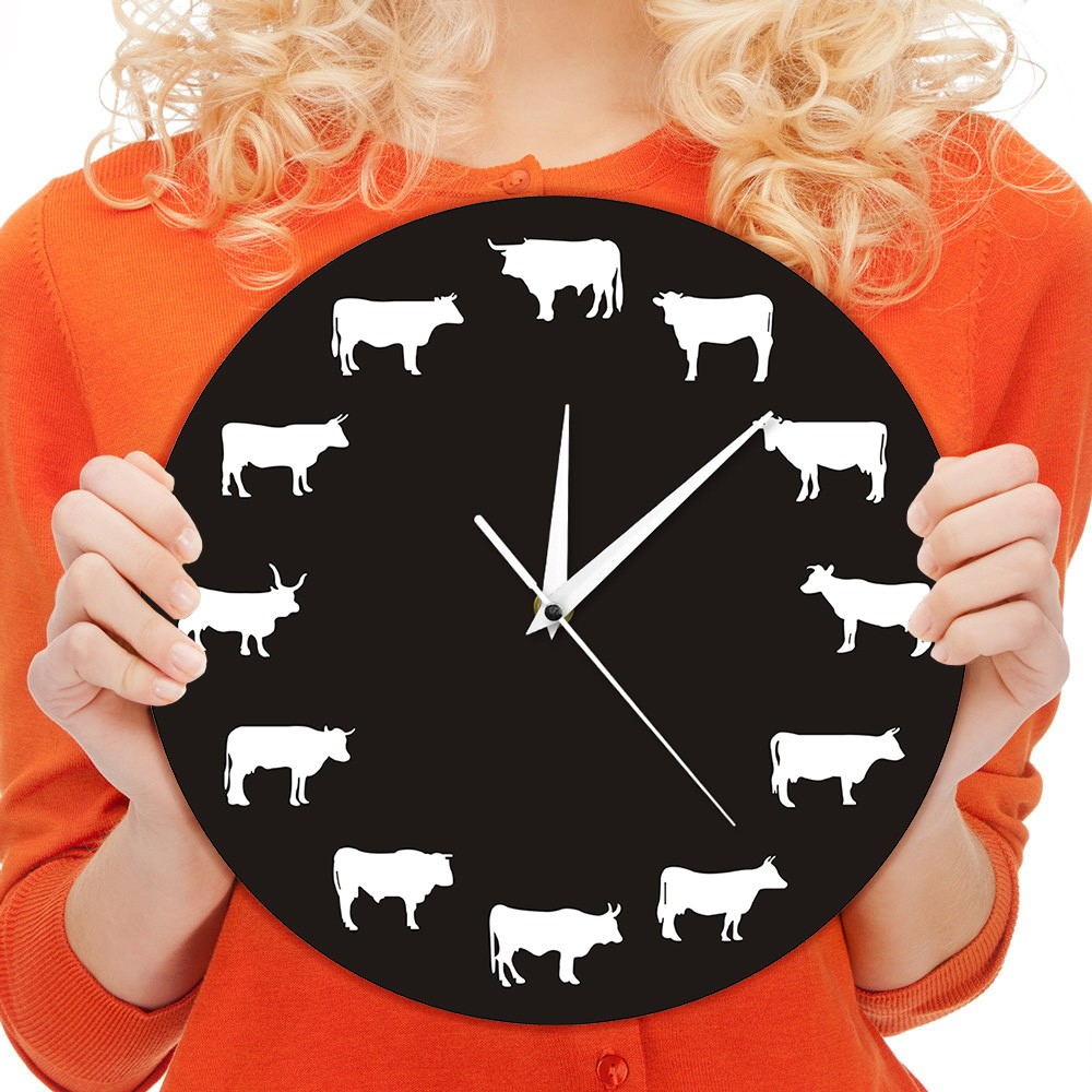 Bison Silhouette Wall Clock Farmhouse Farm Animals Highland Cow Bull Buffalo Nursery Decor Hanging Time Clocks