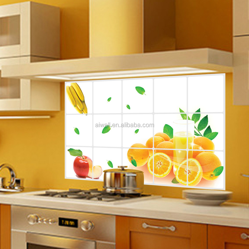 3023 fruit vegetables pattern tile anti oil kitchen sticker removable wall stickers