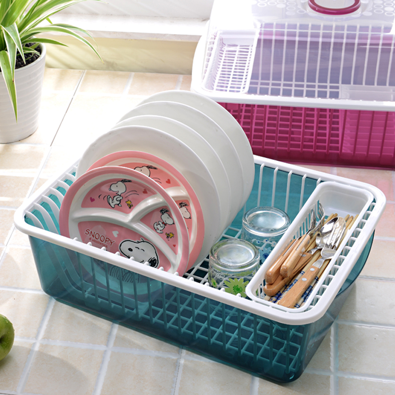 Size Two Layers Plastic Drainning Dish Rack With Cover Kitchen Storage