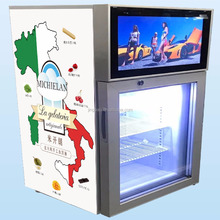 Subzero Ice Cream Glass Door Fridge Freezer with LCD Display Screen and Wifi, USB, Remote Control and Speaker
