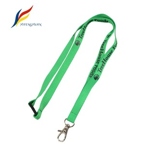 1.2cm Thick Polyester Free Sample Green Panton Custom Logo Silkscreen Lanyard