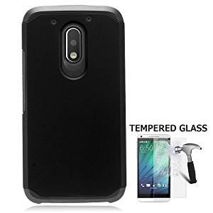 Phone Case For Motorola Moto G4 Play Consumer Cellular, Motorola Moto G Play Droid (Verizon Wireless) Case, Moto E 3rd Gen, Tempered Glass Screen Protector + Rubberize Hybrid Hard Cover Case (Black)