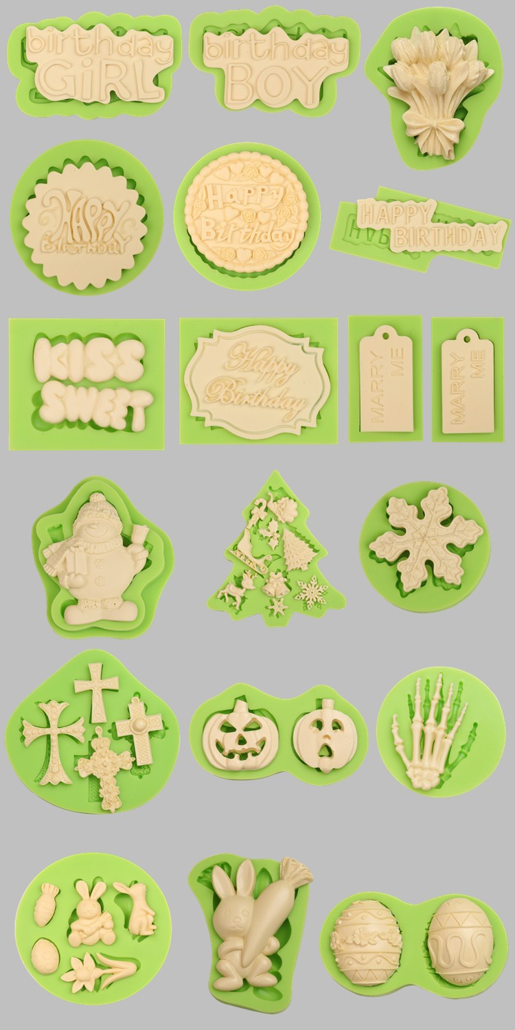 750 Holiday Themed Fondant Silicone Molds for cake decorating