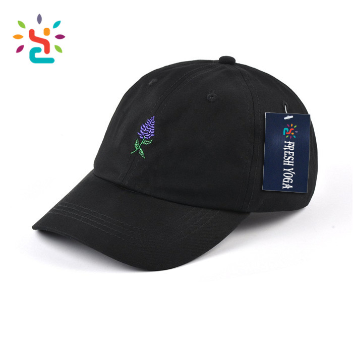 4bc52fb9eff Hot sale lavender embroidered dad hat 100% twill cotton black unstructured  hip hop cap