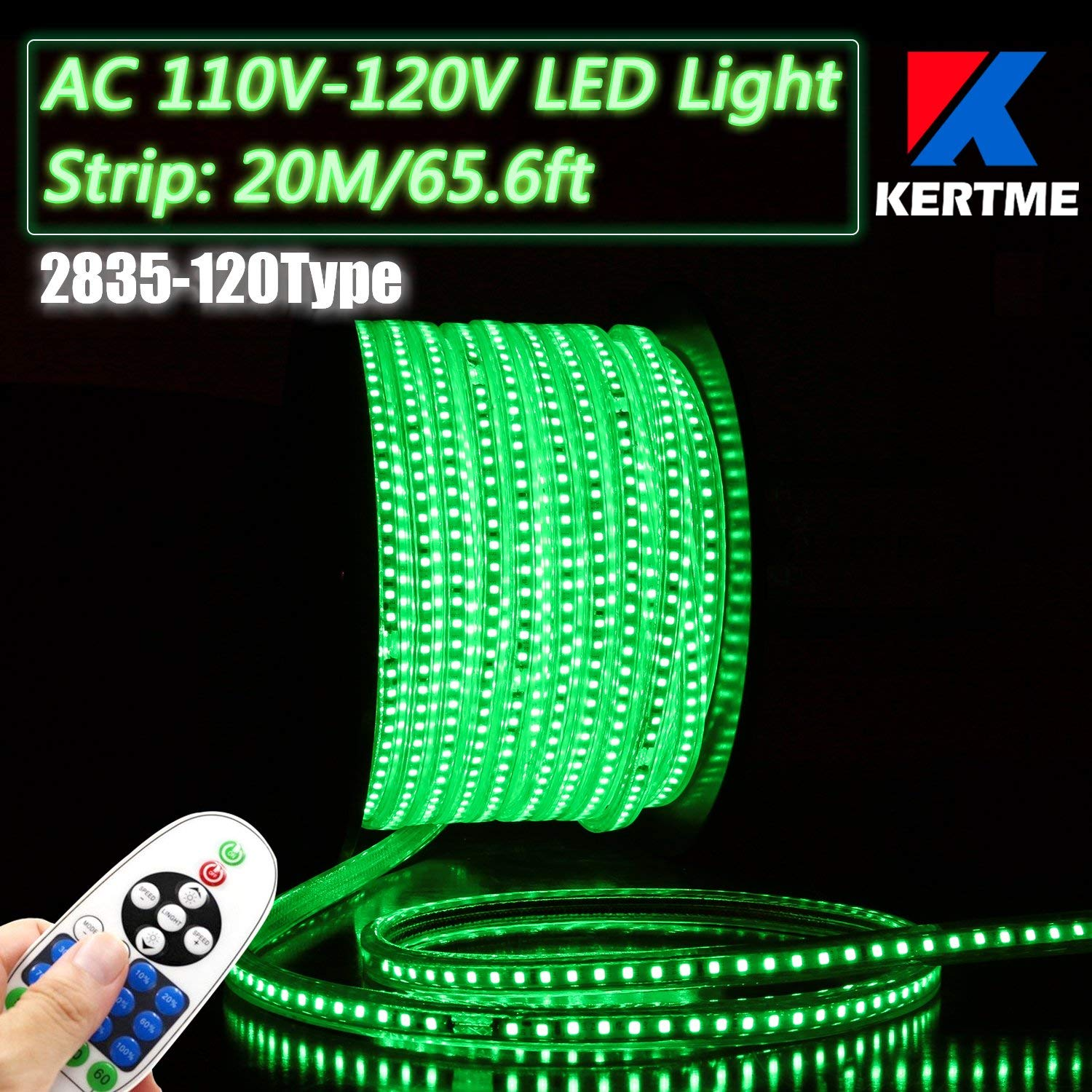 KERTME 2835-120 Type AC 110-120V Green LED Strip Lights, Flexible/Waterproof/Dimmable/Multi-Modes LED Rope Light + 23 Keys Remote for Home/Garden/Building Decoration (65.6ft/20m, Green)