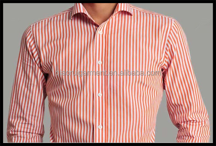99c770dbb340 Spring summer 100%Cotton high quality orange stripes business formal shirts  for men long sleeve