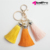 Allwell Multicolored Soft Car Keyring Handbag Charm Tassels Pendant Keychain for Handbag