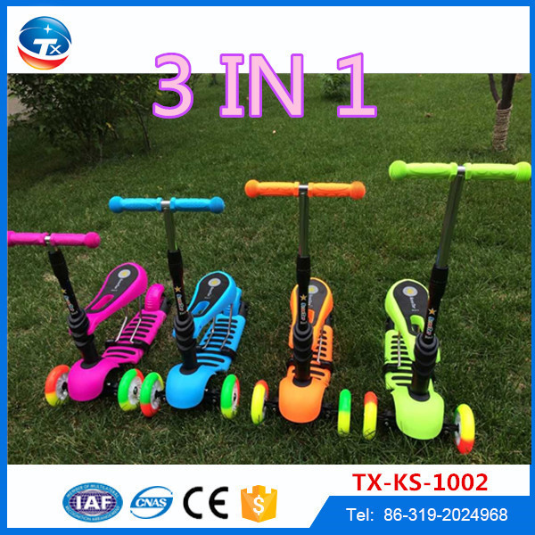 21st China factory wholesale new model 2 in 1 kids scooter, CE approved 3 wheel child scooter