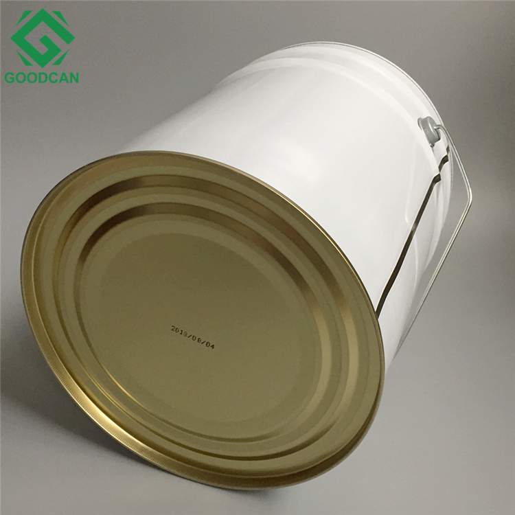 Wholesale 15L round tinplate empty metal printed paint pail bucket with lock hoop lid