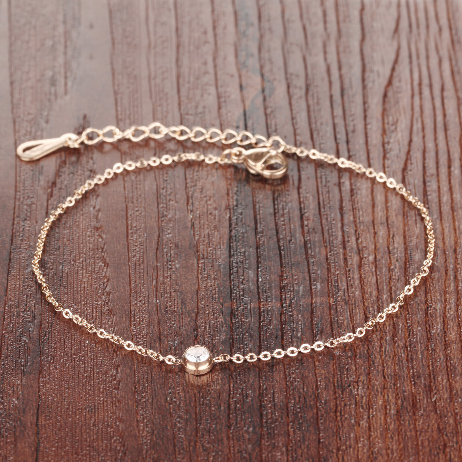Simple  rose gold foot jewelry single cz stone zircon anklet