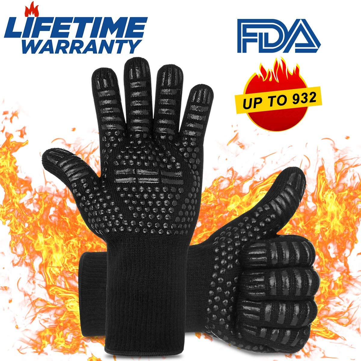 RongGu BBQ Cooking Gloves Heat Resistant Gloves Oven Mitts for Cooking,Grilling,Frying&Baking,Microwave,High Performance Heat Resistance Insulated Gloves-1 Pair(Black)