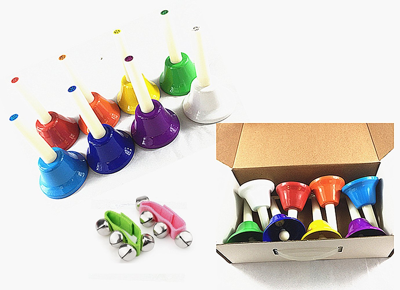 PiXiu-XP Hand Bells Set, 8 Note Diatonic Metal Bells, Musical Learning at an Early Age, Musical Toy Percussion Instrument, Musical Gifts for Kids.(A pair of wrist bells)