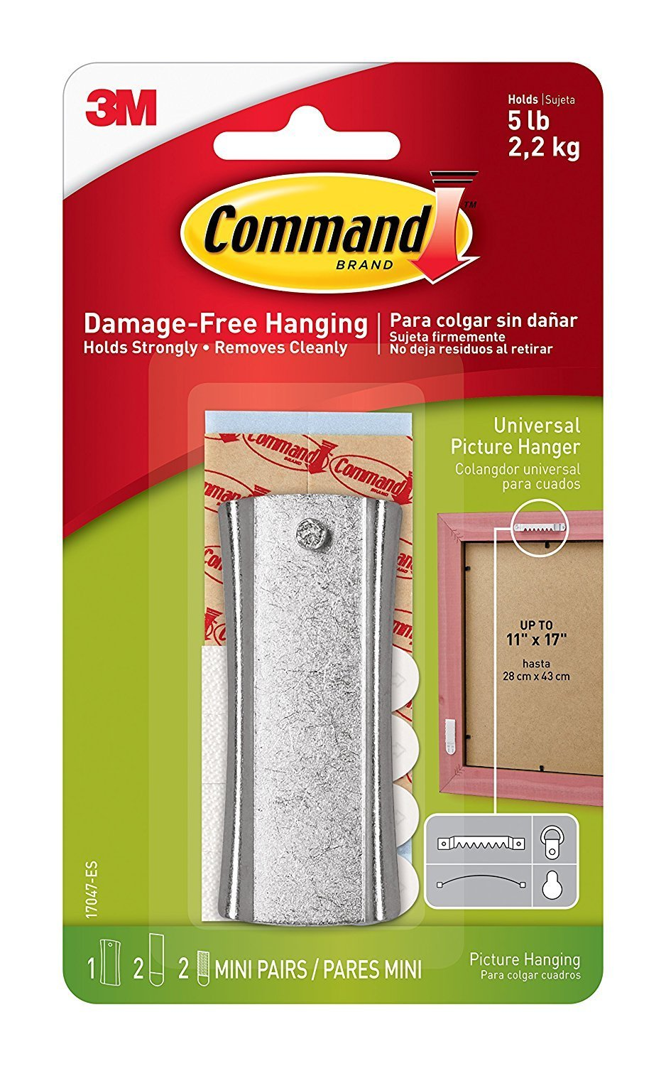 Command Universal Picture Hangers w/ Stabilizer Strips RW1X2, 2-Hangers
