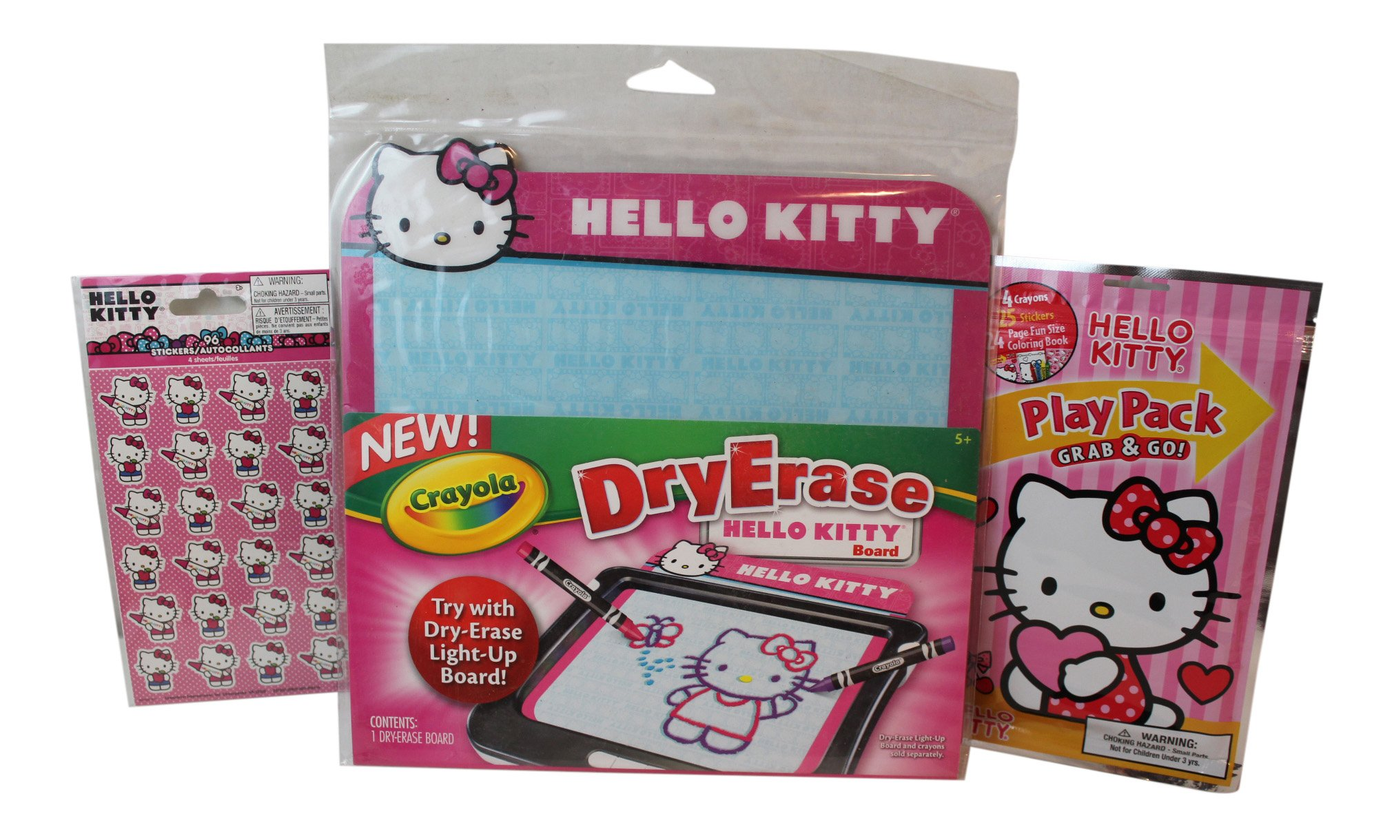 3 pc Hello Kitty Themed Girls Activity Bundle includes:Hello Kitty Coloring Travel Pack, Hello Kitty Dry Erase Game Board, Hello Kitty Stickers
