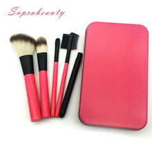 Hot sale Pink color private label travel makeup brushes Christmas gift cosmetic brush with metal case