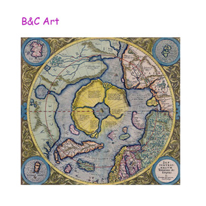 Ancient time scenery print colorful wall world map for home decoration