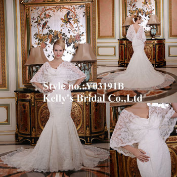 Soft And Beautiful Lace Mermaid Wedding Dress Patterns With A Detachable Jacket Convertible