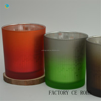 Gradient color glass candle holders soy candle wax bulk
