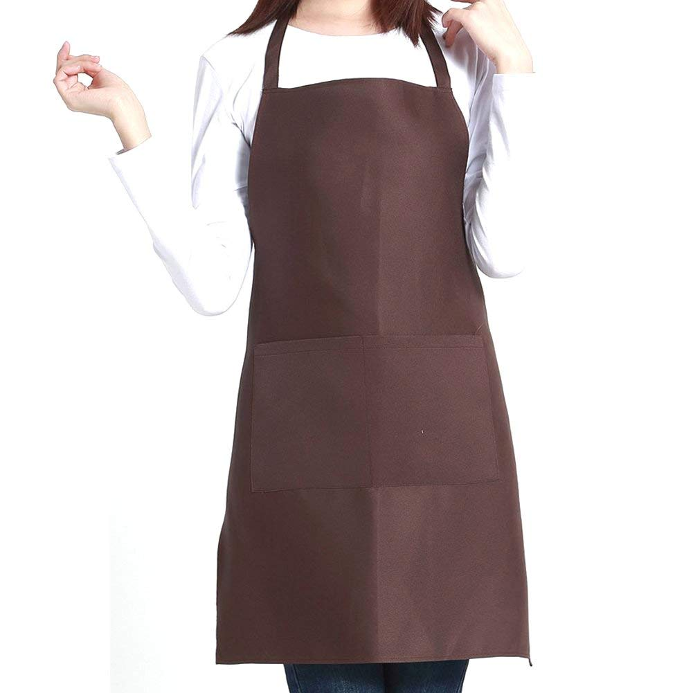 Unisex Kitchen Apron Baking Chefs Apron With Pockets Butcher Craft Cooking BBQ Anti-Fouling Apron (Brown)