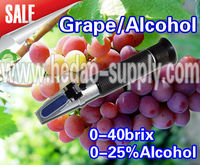 New 0~25%VOL 0~40% Brix Portable Wine Alcohol Grape Refractometer