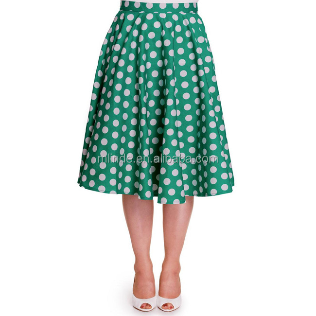 2017 Fashion Women Clothing Wholesale Casual Mid Length Trendy Office Wear Green Polka-Dot Circle Skirt Unbrella Skirt