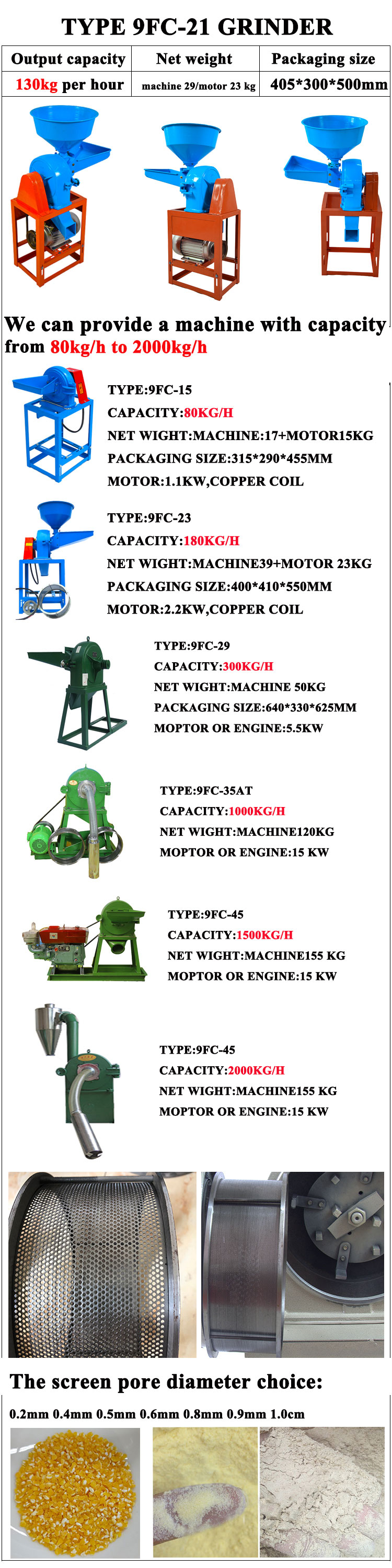 HELI brand grain corn bean grinding / grinder mill machine