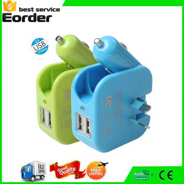 Dual USB 2A Universal Travel Charger Adapter With Car Charger